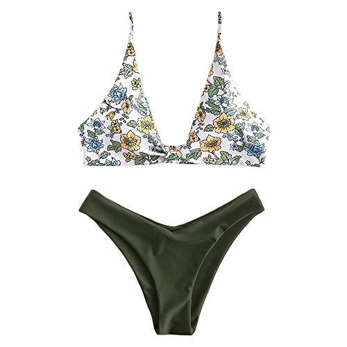 ZAFUL Damen Floral Push Up Bikini Set Grün S