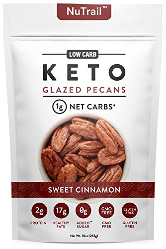 NuTrail™ - Keto Glazed Nuts Snack - Delicious Healthy Nut Mix - Only 1 Net Carb Per Serving - Keto Snacks & Low Carb Food (10 oz) (Glazed Pecans)