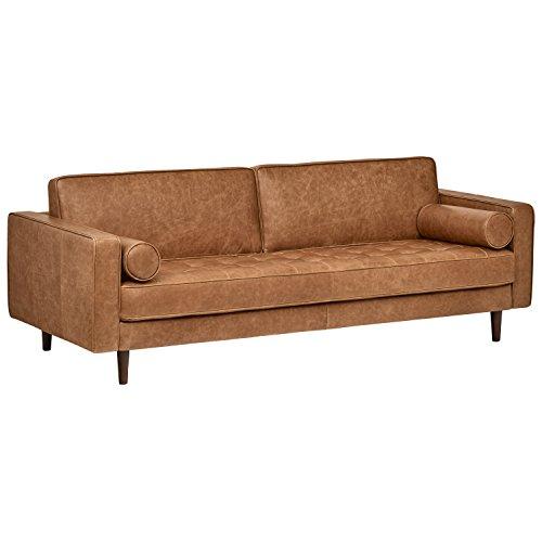 "Amazon Brand – Rivet Aiden Tufted Mid-Century Modern Leather Bench Seat Sofa, 86.6"" W, Cognac"