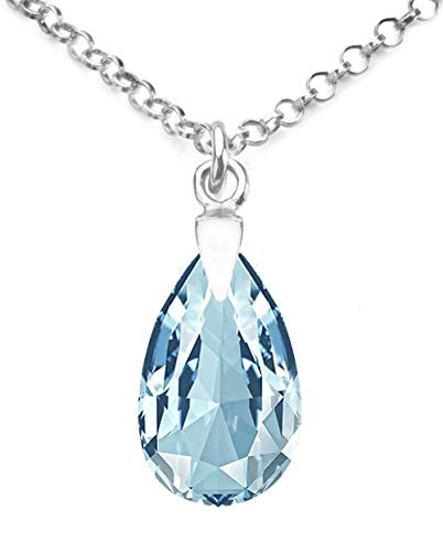 GIFTBOXED! Ah! Jewellery Women's 16mm Aquamarine Crystals From Swarovski Pear Necklace With A 45cm Long Anchor Chain. Genuine Highly Polished Sterling Silver, Stamped 925.