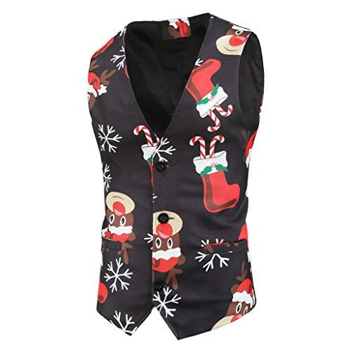 KPILP Herren Elegant Anzugweste Weihnachten Weste Anzugweste V-Ausschnitt Weihnachten Drucken Hochzeitsweste für Party Sakko Blazer Knöpfe Westen
