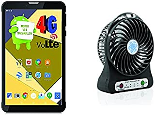 IKALL 4G Dual Sim Calling Tablet with 1 Rechargeable Fan