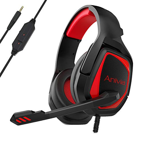 Gaming Headset Over Ear Stereo Headphone with Mic, Soft Memory Earmuffs, Noise Canceling, 3.5mm Audio-Jack for PS4 Xbox One Controller/Mac/PC/Computer/Phones/Tablets (Black Red)