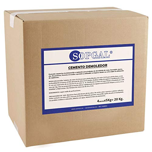 Cemento Demoledor Expansivo - Sopgal (20 kgs): realiza demoliciones seguras, sin explosivos