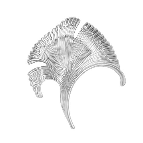 SenFai Ginkgo Tree Leaf Elegant Brooch Suit Lapel Pin Wearable Art 3 Tone (Silver)