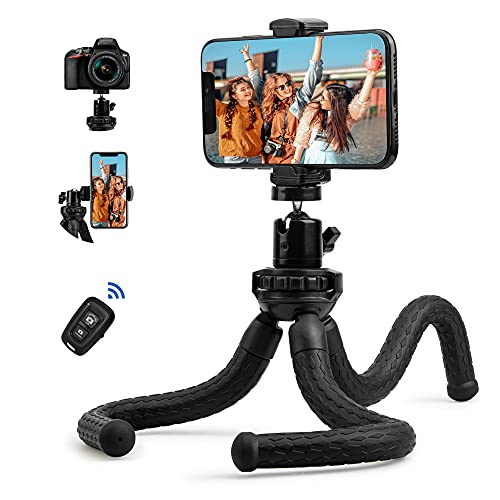 Fotopro Handy Stativ Flexibel Leicht Mini Stativ Smartphone Stativ mit Stative Bluetooth Fernbedienung 360°Grad Flexibles Outdoorstativ MultifunktionTripod für Gopro Kamera iPhone