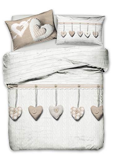 Homelife Parure Copripiumino Matrimoniale 100% Cotone [250X200 cm] Made in Italy | Set Sacco Copri Piumino Moderno Stampa Cuori Appesi| Set Copripiumone e Federe Completo | [2 Piazze, Beige]