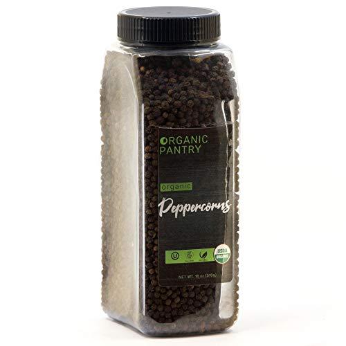 THE ORGANIC PANTRY Organic Peppercorns – USDA Organic Whole Black Tellicherry Peppercorns – 1 Lb. - Steam Sterilized All Natural Organic Black Pepper - Perfect Whole Peppercorns for Grinder Refill