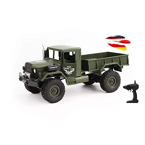 Himoto HSP RC - Camion militare radiocomandato fuoristrada 4 WD con batteria, telecomando e cavo di ricarica, 2,4 GHz, modello veicolo 2,4 GHz, furgone, camion, crawler, kit completo