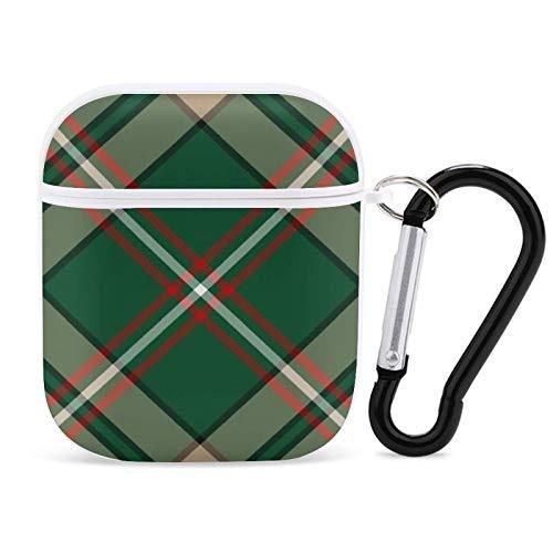 Green and Tan Plaid Oneill Tartan Neck Tie para AirPods 1 & 2 a prueba de golpes TPU AirPods Case Cover Equipado Lindo llavero lavable