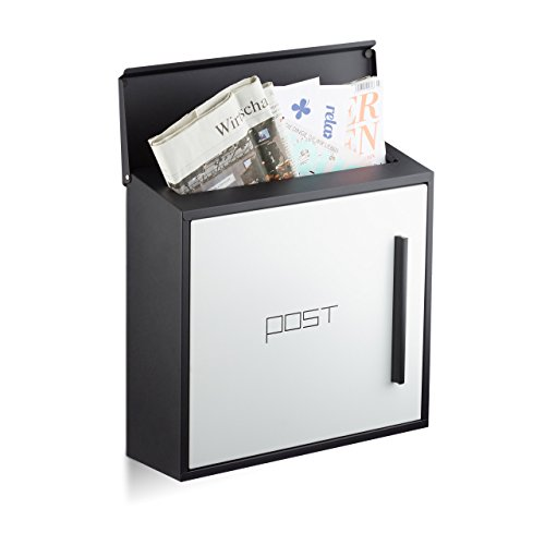 Relaxdays Briefkasten weiß modern Zweifarben Design, DIN-A4 Einwurf, Stahl, groß, HxBxT: 33 x 35 x 12,5 cm, schwarz-weiß