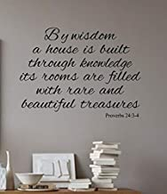 US Wall Decals Proverbs 24:3-4- by Wisdom a House is Built-Vinyl Wall Decal- Wall Quotes- Family Quotes Bible Verses