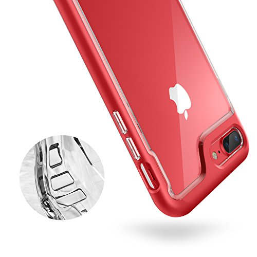 Caseology Skyfall for Apple iPhone 8 Plus Case (2017) / for iPhone 7 Plus Case (2016) - Clear Back & Slim Fit - Red