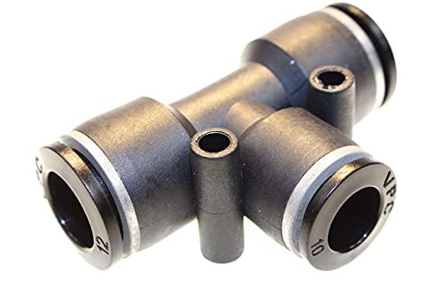 Conector de aire comprimido neumático en T, reduce diámetro 12/10 mm, conector rápido, conector de manguera, adaptador, sistema de conexión, pieza de conexión, atornillado