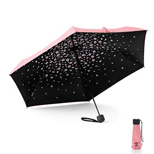 Meiyijia Mini Regenschirm - Pocket Taschenschirm - UV-undurchlässig inkl,Wasserabweisende Teflon-Beschichtung,Mini, Leicht & Kompakt, windsicher, Rosa 90cm