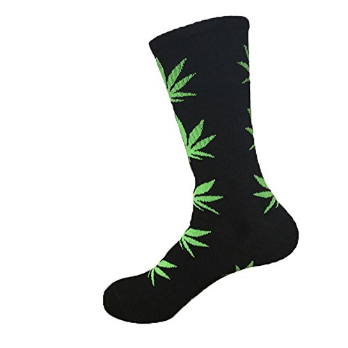 ACHICOO Paradise Kiss 5 Farben Plantlife Marihuana Weed Leaf Baumwolle Hohe Socken Männer/Frauen Knöchel (schwarz) Outdoor-Produkte