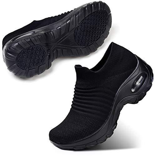 STQ Damen Schuhe Slip On Sneakers Freizeit Atmungsaktive Fitness Turnschuhe Plattform Air Leichte Outdoor Walking Schuhe(All Schwarz38)