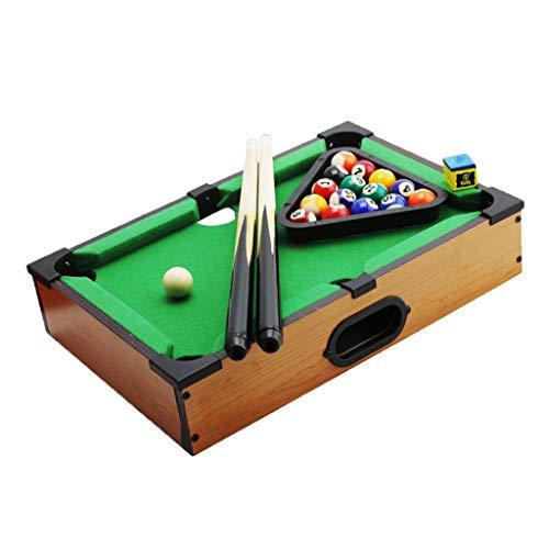 Toygogo Mini Tischbillard, Billardtisch, Billiard Spieltisch mit 2 Queues, Kugeln, Dreieck und Kreide, 35x25x7 cm