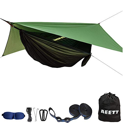 Camping Hammock with Mosquito Net and Rain Fly - Portable Travel Hammock Bug Net - Camping Equipment - Hammock Tent for Outdoor Hiking Campin Backpacking Travel