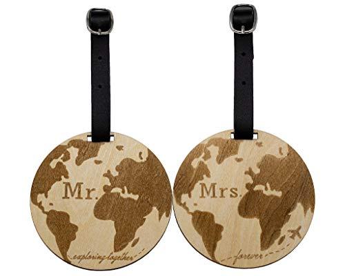 Mr Mrs Gepäckanhänger aus Holz, für Reisen, süßes Geschenk für Paare, 2 Stück