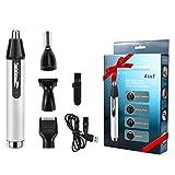 Babacom Cortapelos Nariz y Orejas, 4 en 1 USB Recargable Grooming Set para Nariz/Orejas/Ceja/Barba, Multifuncional Recortador de Vello, Nariz y Orejas con Cabezas de Reemplazode Acero Inoxidable