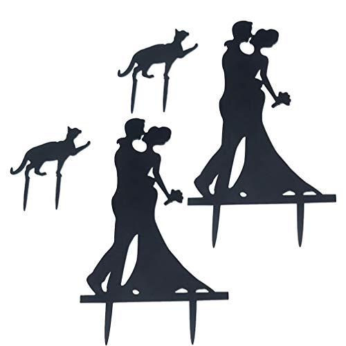 SOIMISS Juego de 2 adornos para tarta de boda con gato, color negro acrílico, silueta para bodas, fiestas, romántico, decoración de bodas, etc. Color negro