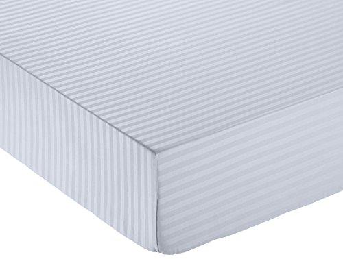Amazon Basics - Deluxe-Spannbetttuch, Mikrofaser, gestreift, 90 x 200 cm - Dunkelgrau