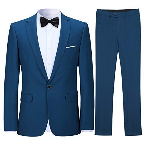 Costume homme confortable formel d'affaire de couleur uni un bouton à la mode slim fit deux pièces,Bleu,XL