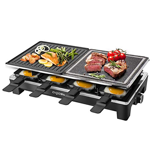 Aigostar Raclette Grill mit Antihaftbeschichtet 8 Pfännchen, für 8 Personen 1500W, Elektrogrill Tischgrill, Naturstein-Grillplatte, Einstellbarer Thermostat, Größe L480 * B233 * H132(mm)