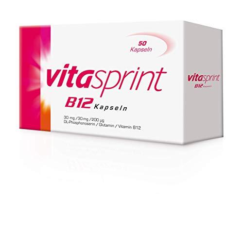 Vitasprint B12 Kapseln – Arzneimittel mit hochdosiertem Vitamin B12 und Eiweißbausteinen für geistige und körperliche Energie – 1 x 50 Kapseln