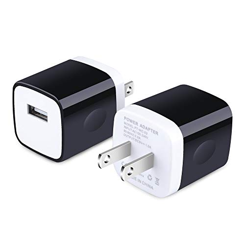 Charging Block, Wall Plug 2Pack 1A One Port Wall Charger Brick Phone Cube Charger Base Fast Charge Compatible iPhone 11 Pro Max/X/8 Plus/7/6S Plus, Samsung Galaxy A10e S20 S10 S9 S8 Plus/S7/Note 10+/9