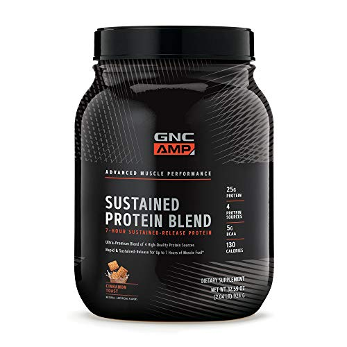 GNC AMP Sustained Protein Blend - Cinnamon Toast, 28 Servings, High-Quality Protein Powder for Muscle Fuel*