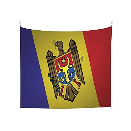 Moldawien-Flagge, Wandbehang, Tarot, Boho, beliebt, mystisch, Trippy, Yoga, Hippie, Wandteppiche für Wohnzimmer, Schlafzimmer, Wohnheim, Heimdekoration, schwarz & weiß, Stranddecke