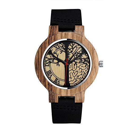 Infinity U-Orologio al quarzo Fashion in legno di bambù per donna e uomo Orologio al quarzo con cinturino in vera pelle Idea regalo di Natale Design di coppia Albero della vita