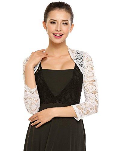Zeagoo Women's 3 4 Sleeve Bolero Shrugs Crochet Lace Open Cardigan,White,Small