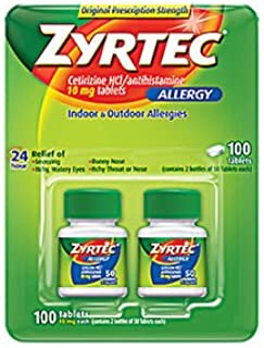 Zyrtec Allergy 10mg Original Prescription Strength Tablets, 100 ct. AS