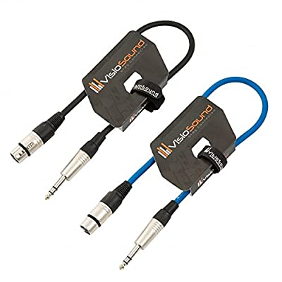 2 x Female XLR to 6.35mm Stereo Jack Lead/Balanced Signal Patch Cable / 2 Pack 0.5m Black/Blue