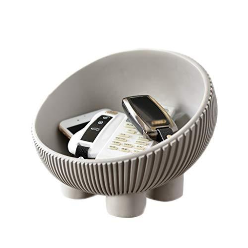Decoración de entrada, bandeja de almacenamiento de escritorio, bandeja de almacenamiento para llaves de entrada, cuenco de popurrí, organizador de mesita de noche (color gris)