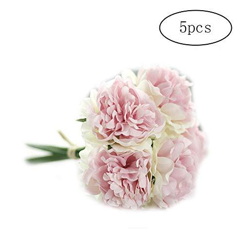 lujiaoshout 26 CM Polyvalent de Vie comme Fleur Artificielle Simulation 5 Pivoine Fleur Bouquets Fleurs en Soie pour soirée de Mariage Accueil décoration de mariage-1pc Blanc et Rose