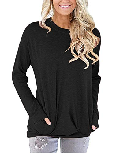 ONLYSHE Casual Loose Tunic Tops for Women Long Sleeve Shirts with Pocket Black L
