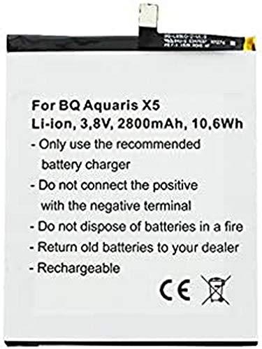 AccuCell - Batería para BQ Aquaris X5 (2900, 3,8 V, 2800 mAh)