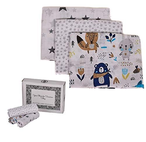 Mussole - Manta para bebé fabricada en la UE, 80 x 70 cm, algodón Oeko Tex, sábana para cuna de bebé, manta de cochecito de bebé, colcha para cuna, kit de baño, baño de bebé (sexta variante)