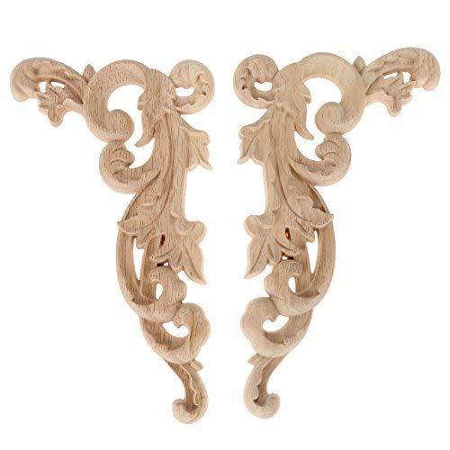 2pcs Apliques de Madera en artesanía de Muebles sin Dibujos con Esquina Tallada para la decoración del hogar 19 * 11 * 0.8cm
