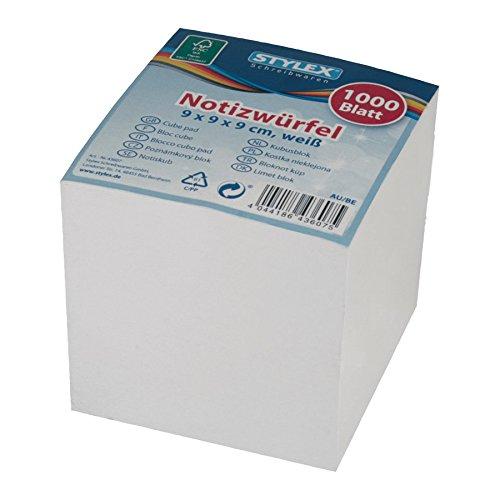 STYLEX 43607 Notizwürfel, 9 x 9 x 9 cm, weißes Papier