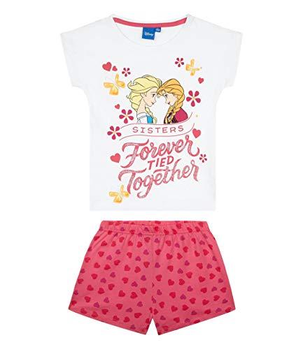 Disney Die Eiskönigin Mädchen Shorty-Pyjama mit Rubber-Druck Kinder Schlafanzug 2-teilig Weiß 128