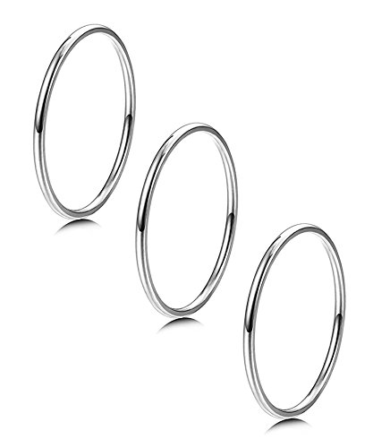 LOYALLOOK 3pcs 1mm Stainless Steel Women's Plain Band Knuckle Stacking Midi Rings Comfort Fit Silver Tone 7#