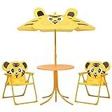 GOTOTOP Set da Bistrot per Bambini da Esterni con Ombrellone Set di Mobili da Giardino per Bambini Giallo 1 Tavolo 2 Sedie 1 Ombrellone