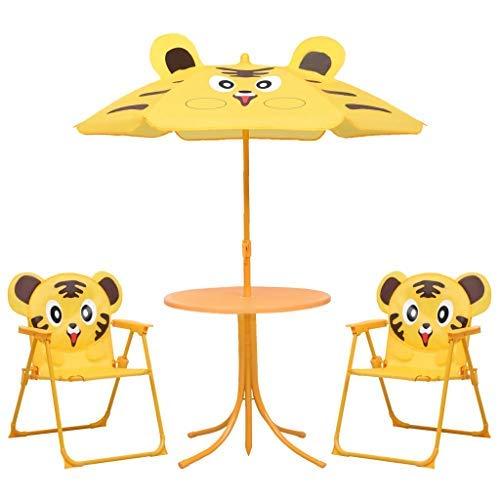 Juego de muebles de jardín para niños Set de Bistrot para niños de exterior 1 mesa 2 sillas 1 sombrilla amarillo