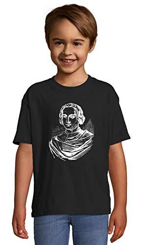 Atprints Christoper Columbus Famous Italian Explorer Artwork Noir Crew Neck Kids T-Shirt 84-94 (2 Year)