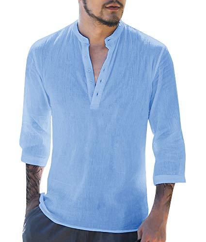 Gemijacka Herren Leinenhemd Henley Freizeithemd 3/4 Ärmellänge & Kurzarm Regular Fit Kragenloses Shirt, Blau, XXL (Herstellergrösse: 2L)